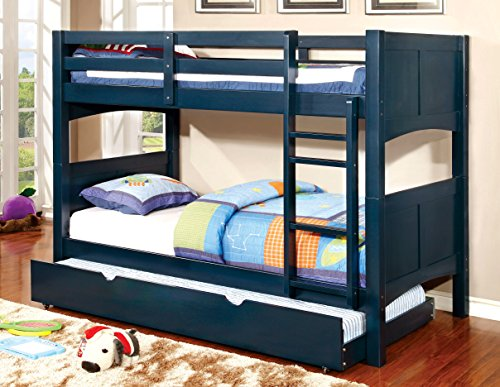 Furniture of America Bahari Bunk Bed with Trundle, Twin/Twin, Blue