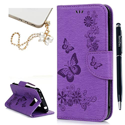 Galaxy S7 Active Case - Maviss Diary Embossed Wallet Butterfly Flowers PU Leather Flip Folio Stand Cover & Hand Strap,Card Slots for Samsung Galaxy S7 Active SM-G891A & Dust Plug & Stylus - Purple