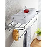 qiuxi Bathroom towel bars 60cm with 4 Hooks Contemporary Stainless Steel Chrome Wall Mounted Towel Warmer