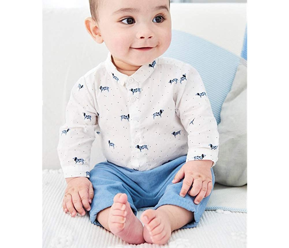 FCQNY Toddler Baby Boy Long Sleeve Button-Down Shirt Cotton Rompers Jumpsuit+Pants