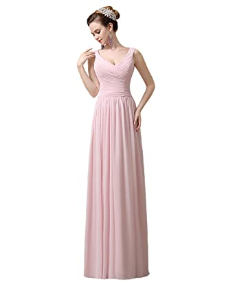 YesDress Junior 2016 Simple Chiffon A-line Off Shoulder V-neck Long Pink Bridesmaid
