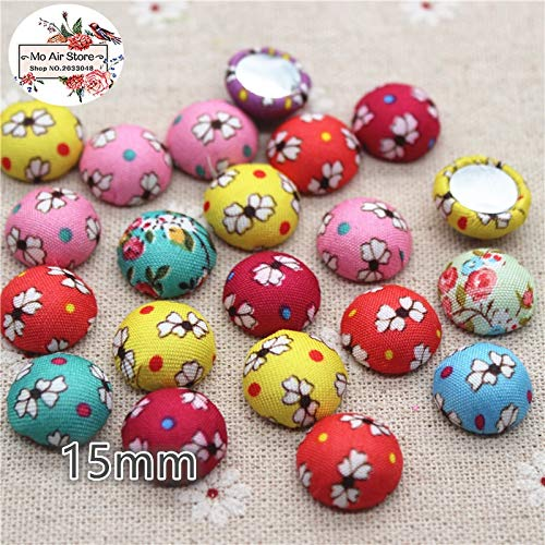 - Maslin 50pcs Mix Color Flatback Flower Fabric Covered Round Buttons Home Garden Crafts Cabochon Scrapbooking DIY Craft 15mm