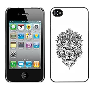 SoulCase / Apple Iphone 4 / 4S / Tribal Tattoo Lion Totem / Slim Black Plastic Case Cover Shell Armor