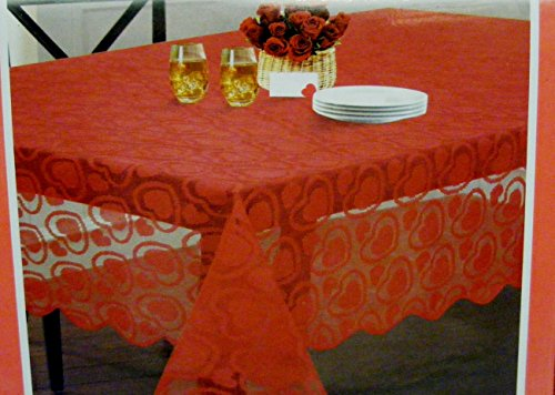Valentine's Day Red Lace Tablecloth Sweet Hearts 52x70