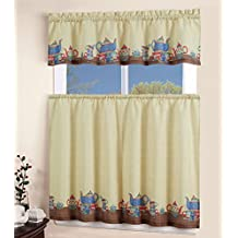 MarCielo 3 Piece Printed Floral Kitchen/Cafe Curtain With Swag and Tier Window Curtain Set (Alice)