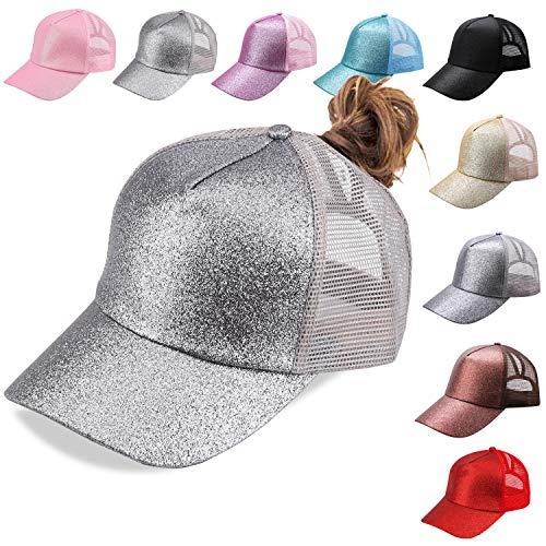 NeuFashion Ponycap Messy High Bun Ponytail Adjustable Mesh Trucker Baseball Cap Hat (silver1)