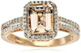 10k Rose Gold Morganite Center and Diamond Ring (1/5cttw, I-J Color, I2-I3 Clarity)
