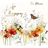 Greeting Card (PH5298) - Birthday - Mum - Poppies and Butterflies - Peony Rose Range - Flitter and Foil Finish