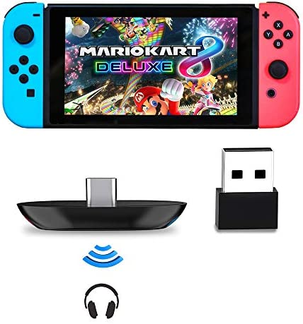 Bluetooth Adapter for Nintendo Switch/Lite, BT 5.0 Wireless Audio Transmitter with Low Latency USB C to A Converter for Bluetooth Headphone Speakers on PC Laptop Airpods, Black