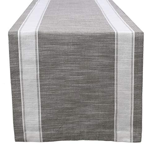 Cotton Clinic Helena Broad Stripe 14x90-inch Table Runner - Gray White ()