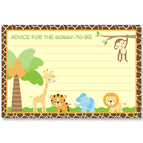 Advice for Mommy Cards Jungle Safari Baby Shower Gender Neutral Team Green Sprinkle Activity Games Zoo Monkey Lion Tiger Elephant Giraffe Wildlife Nature Animal Friends Advice Wisdom (24 Count) ()