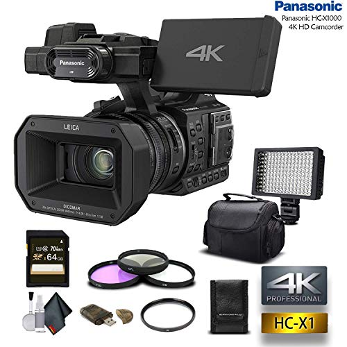 Panasonic HC-X1000 4K DCI/Ultra HD/Full HD Camcorder with 64GB Memory Card, LED Light, Case, Telephoto Lens, and More – Advanced Bundle