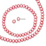 Sterling Silver Rose 6-7mm FW Cultured Pearl Set