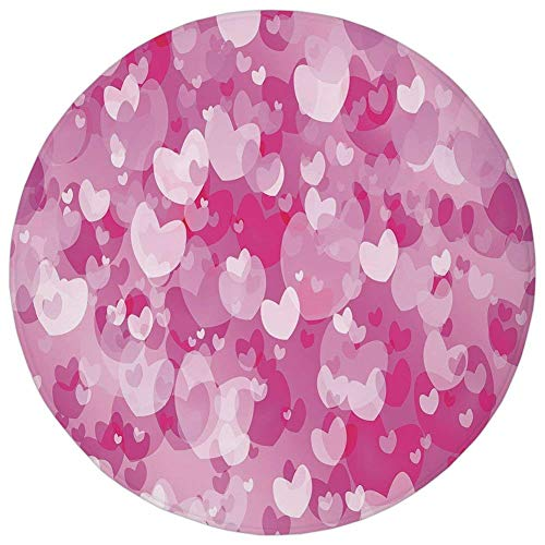 Round Rug Mat Carpet,Hot Pink,Image Consisting of Various Shaped Vibrant Colored Hearts Love Valentines Decorative,Hot Pink Rose White,Flannel Microfiber Non-slip Soft Absorbent,for Kitchen Floor Bath