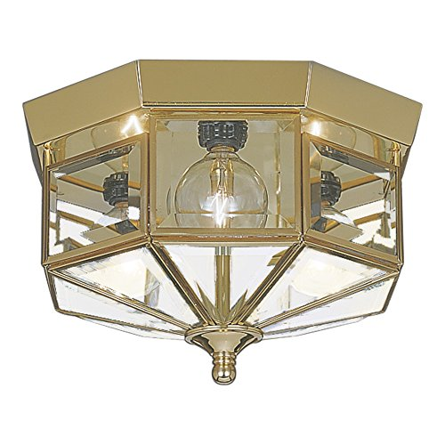 Sea Gull Lighting 7661-02 Grandover Three-Light Flush Mount Ceiling Light with Clear Beveled Glass Panels, Polished Brass Finish