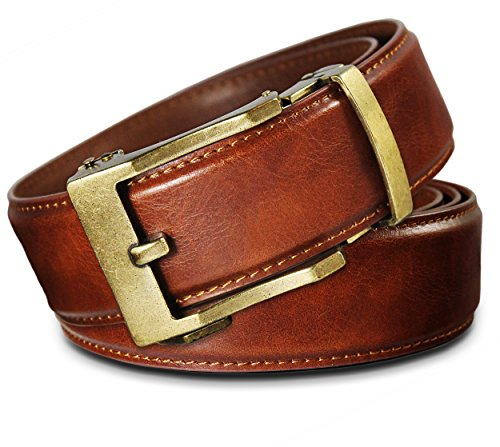 Dress Leather Belt Brass Buckle - Men's Leather Ratchet Click Belt - Lincoln Antique Brass Buckle with Saddle Tan Leather Belt (Trim to Fit: Up to 43'' Waist)
