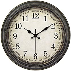 45Min 12-Inch Decorated Dial Face Retro Wall Clock, Silent Non-Ticking Round Home Decor Wall Clock with Fern/Phoenix/Peacock/Peony (Black-Gold)
