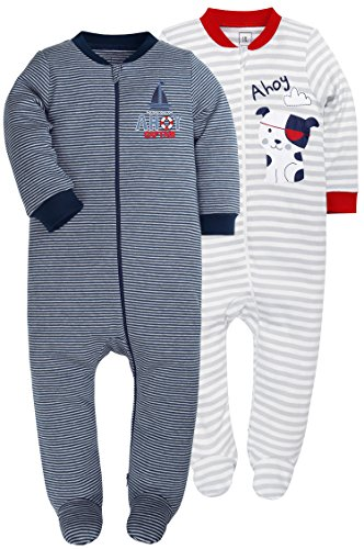 Footed Pajama Set (SHENGWEN Baby Boys'2 Pack Footed Sleeper Yarn-Dyed Striped Baby Pajamas Set (Blue/Grey, 12-18 Months))