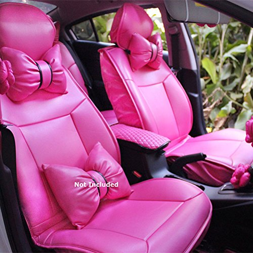 Charming Bowknot Hot Pink Car Seat Covers Leather Front Set 6pcs Customization Inform Auto Modelyrs