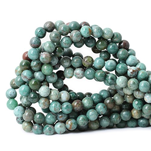 (Qiwan 45PCS 8mm Natural Australian Dragon Blood Jade Round Stone Beads for Jewelry Making Bracelet Making Supplies 1 Strand 15