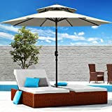 Patiassy 9 Feet Patio Umbrella with Tilt Air Vented Outdoor Table Market Umbrella with 8 Sturdy Ribs, 240 GSM Fabric for no Fading, Beige