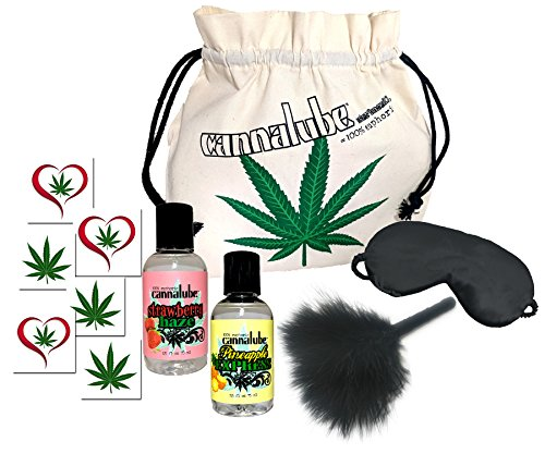 Cannalube Adult Novelty Gift for Men, Pineapple Express and Strawberry Haze 2 oz Edible Lubes, Feather Teaser, Removable Tattoos, Sex Mask, Marijuana Weed Leaf Bag Valentine Gift Boxed