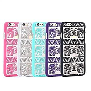 WQQ Elephant Retro hollow hard back Case for iPhone 6 Plus(Assorted Color) , Blue