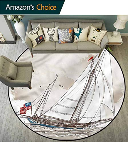 RUGSMAT Vintage Warm Soft Cotton Luxury Plush Baby Rugs,Antique American Yacht Circle Rugs for Living Room Round-55 (Yacht Antique)