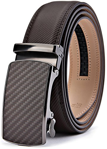 Men's Belt,Bulliant Slide Ratchet Belt for Men with Genuine Leather 1 3/8,Trim to Fit (Belt Dark Leather)