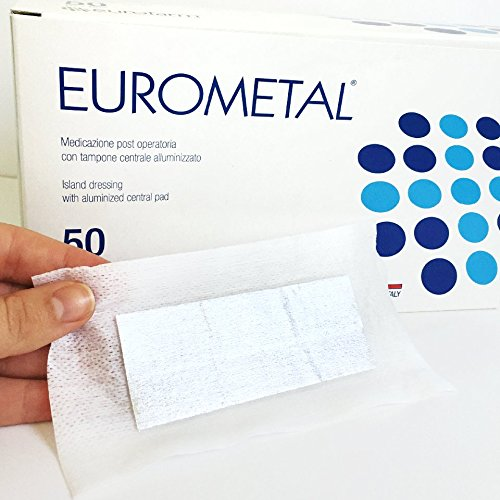 New Aluminized Antibacterial Wound Care Medical Grade: 6 pcs. Sterile Adhesive Island Dressing with a Non Adherent and Absorbent aluminized Central pad. Size: 6''x 3'', 15 cm x 8 cm. Made in Italy