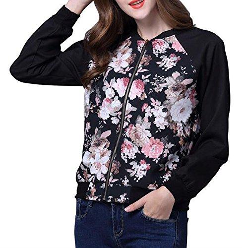 Tropical Print Jacket (GH Women Tropical Floral Print Pockted Bomber Jacket Coat Dark blue XL)