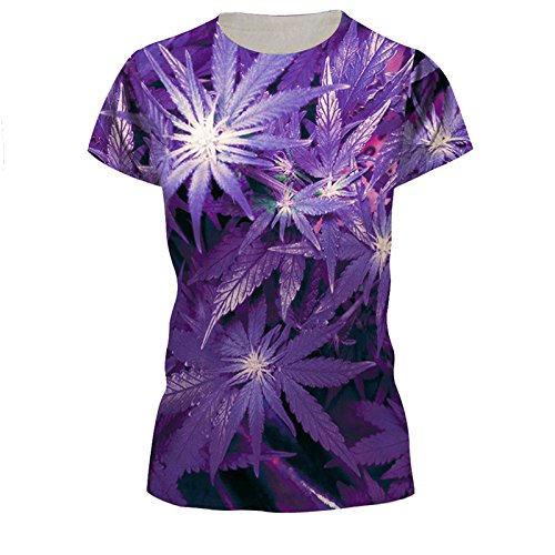 Slim Fit Purple Hemp Fimble Leaf T-shirt Tops for Women Girls Lady , M=(US S)