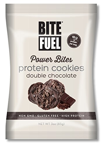 BITE FUEL Power Bites High Protein Cookies, Non GMO, Gluten Free Double Chocolate Chip Cookies, 3 Oz (Pack of 8)