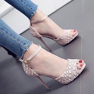 2ed23596136b KPHY Talons De 10 Cm De Talons Hauts Mince Sandales Poisson Bouches Boucles  Des Chaussures De