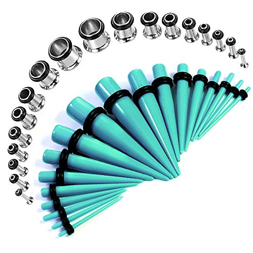 BodyJ4You 36PCS Gauges Kit 14G-00G Single Flare Stainless Steel Tunnel Plugs Under Water Acrylic Tapers