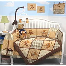SoHo Classic American Teddy Bears Baby Crib Nursery Bedding Set 13 pcs for boys included Diaper Bag with Changing Pad & Bottle Case