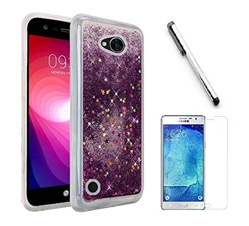 - LG X Power 2 / LG Fiesta LTE / LG K10 Power / LG LV7 Case, Luckiefind Hybrid Liquid Quicksand with Glitter Fused Hybrid Hard PC TPU Cover Case, Stylus Pen Accessories (Purple)
