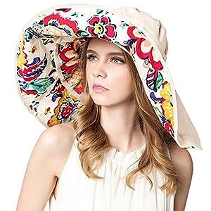 Lanzom Womens Large Brim Floppy Foldable Roll up Beach Cap Sun Hat UPF 50+
