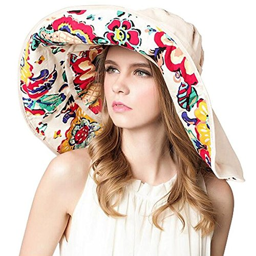 Lanzom® Womens Large Brim Floppy Foldable Roll up Beach Cap Sun Hat UPF 50+ (Beige)