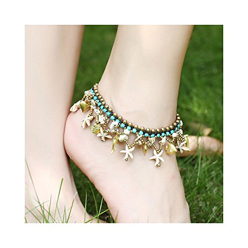 - Karen accessories Boho Turquoise Ankles, Handmade Turquoise Stone Braided Starfish Dolphin Pumpkin Charm Tassel Anklets Bracelet Jewelry (White)
