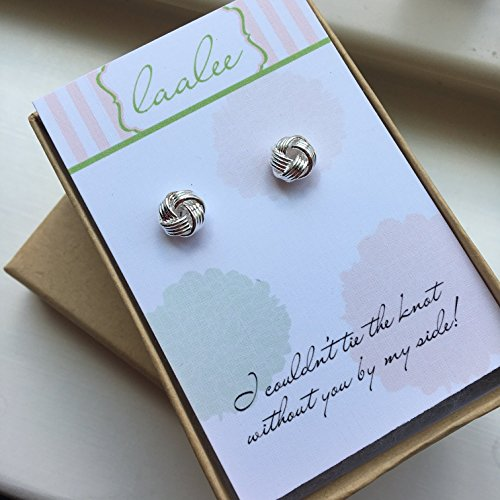 Silver Knot Earrings Knot Jewelry Stud Earrings Post Earrings Bridesmaid Card Gift Tie the Knot Card Wedding Jewelry (Post Jewelry Wedding)