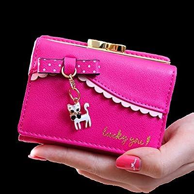 SYGoodBUY Bolso corto de la cartera de cuero de la cartera de las mujeres de la manera Bolso corto pequeño bolso de la capacidad linda grande con el gato y ...