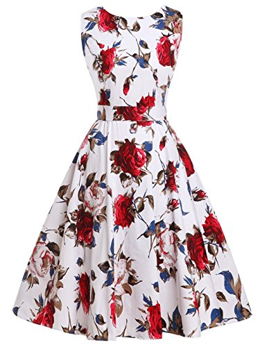 FAIRY COUPLE 50s Vintage Retro Floral Cocktail Swing Party Dress with Bow DRT017(M, Blue Red Floral)