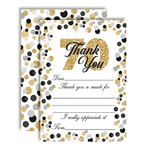 Big Bold Border (Confetti Polka Dot 70th Themed Thank You Notes, Ten 4