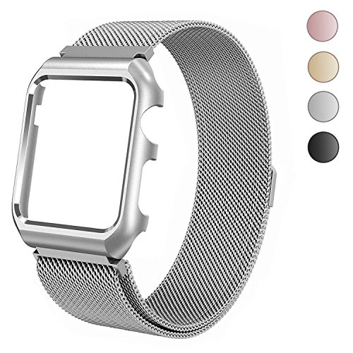 Sundo Compatible for Apple Watch Band 38mm 42mm Milanese Loop Stainless Steel mesh Straps with case for Iwatch Series 3 2 1 (Silver 42mm+Case)