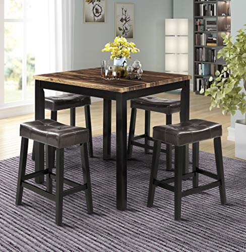 LZ LEISURE ZONE 5-Piece Dining Table Set Kitchen Wooden Top Counter Height Dining Set with 4 Leather-Upholstered Stools (Wooden)