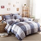 Uozzi Bedding 3 Piece Duvet Cover Set King, Reversible Printing with Brushed Microfiber, Lightweight Soft, Comfortable, Durable (Gray-Blue-White-Plaid, King)