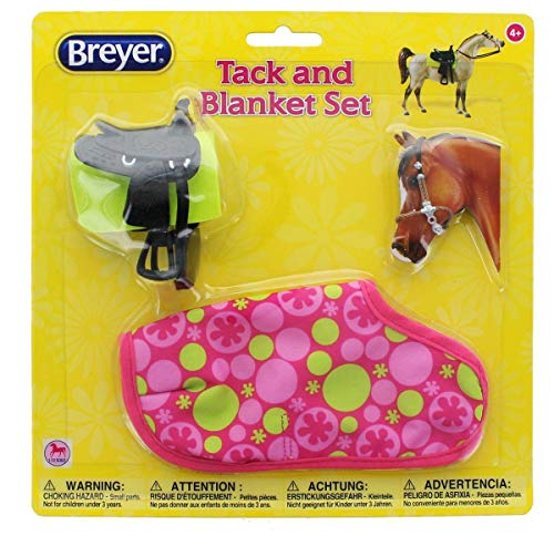 Breyer 1:12 Classic Model Horse Tack and Blanket Set, Pink & Green