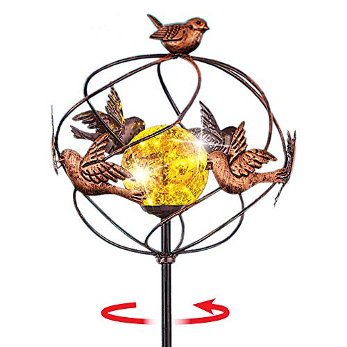 Charming Solar-Powered Copper Colored Bird Spinner Garden Stake with Light Up Gold Ball, Stands 3 ft Tall
