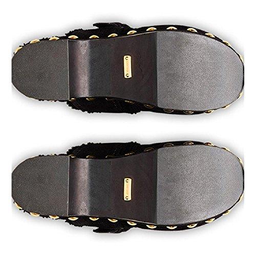 Modèle Kdz31l Mules Cuir En Voiture De Noir De Jft De F0002 Mouton Numéro Noir Femmes Chaussures FWtqnf774